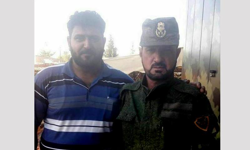 """قائد """"أبابيل الحق"""" المدعو """"أبو الخير"""" إلى جانب العقيد سهيل الحسن """"النمر"""" - 8 حزيران2017 (فيس بوك)"""