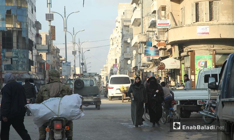 تعبيرية: أحد شوارع مدينة إدلب - 9 شباط 2017 (عنب بلدي)