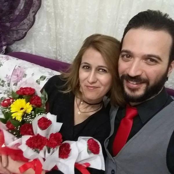 طلال الخراط، شاب سوري من دمشق، وزوجته التركية خديجة