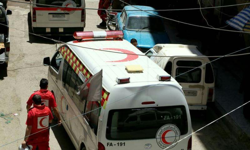 سيارات الهلال الأحمر في الغوطة - 13 تموز 2017 (الهلال الأحمر السوري في دمشق)