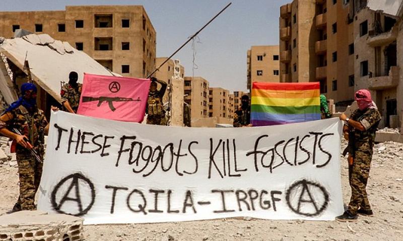 صورة المقاتلين المثليين جنسيًا لقتال تنظيم الدولة في مدينة الرقة - (تويتر)