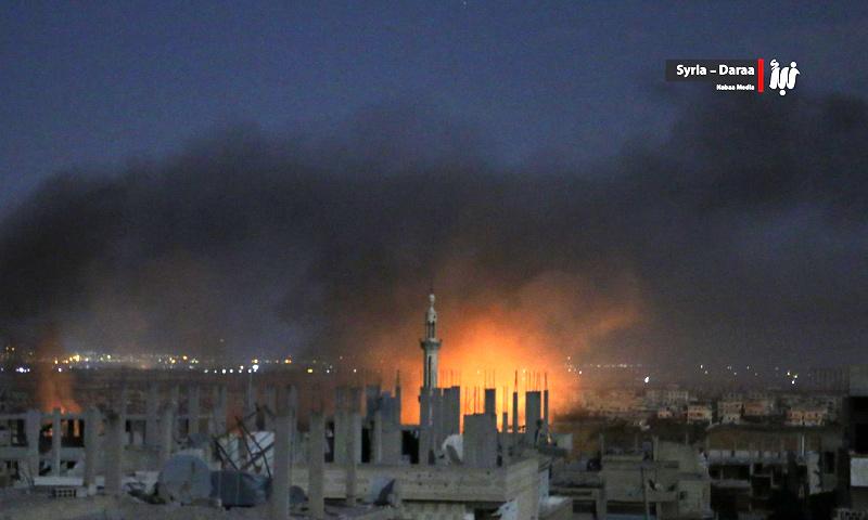 آثار القصف بالبراميل والنابالم على مدينة درعا - تموز 2017 (وكالة نبأ)