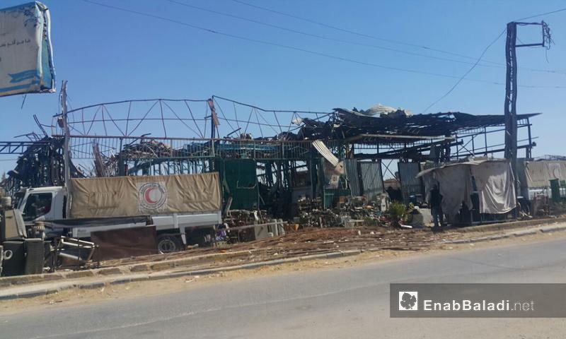 قافلة إغاثية مقدمة من الأمم المتحدة تدخل الغوطة الشرقية - 30 تموز 2017 - (عنب بلدي)