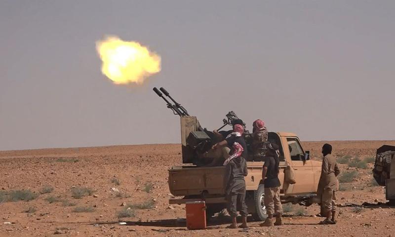 آلية عسكرية لتنظيم الدولة أثناء تصديها لطيران النظام السوري في البادية السورية - (أعماق)