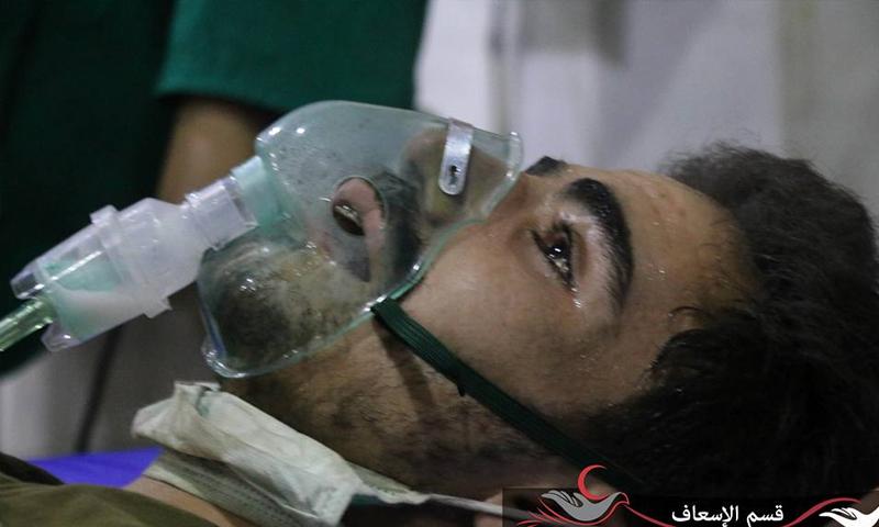 إصابات في عين ترما بالغازات السامة (المكتب الطبي في حي جوبر فيس بوك)