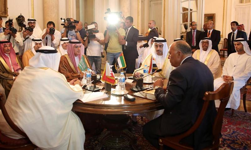 اجتماع وزراء خارجية الدول الأربع المقاطعة لقطر في القاهرة - 5 تموز 2017 - (رويترز)