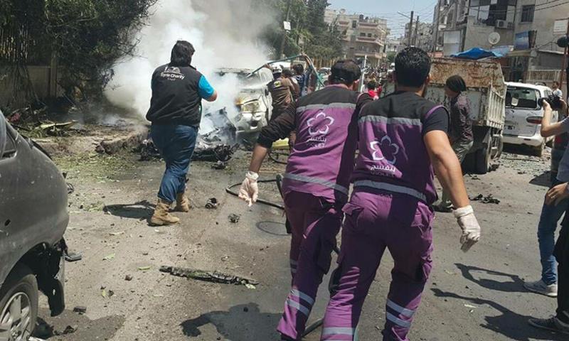 انفجار قرب مستشفى المجد للنسائية والتوليد في مدينة إدلب - 16 تموز 2017 (فيس بوك)