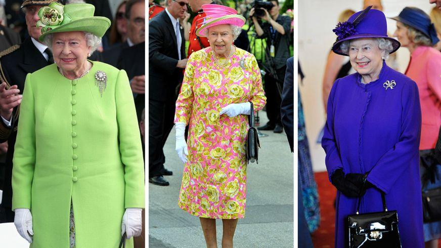 الملكلة البريطانية، إليزابيث الثانية، وهي ترتدي ثيابها فاقعة الألوان (غيتي)