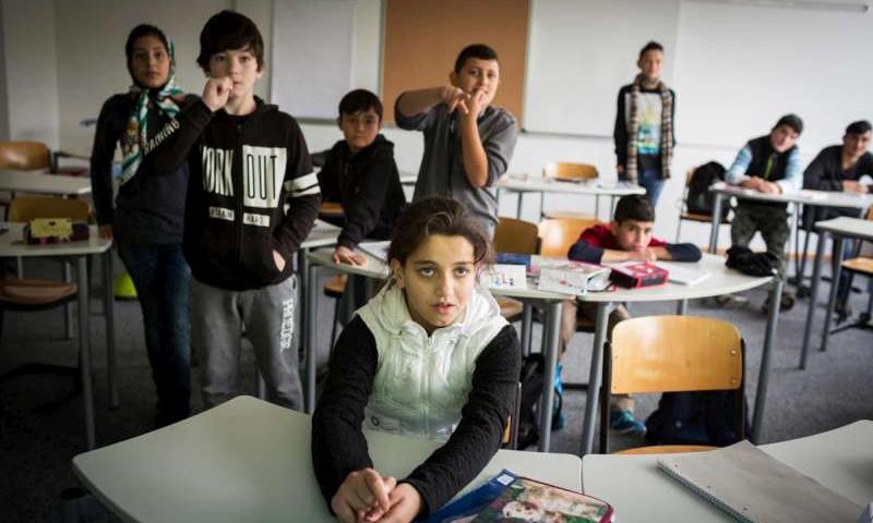 أطفال سوريون في مدرسة ألمانية - (يونيسف)