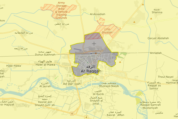 خريطة السيطرة الميدانية في مدينة الرقة - 14 آب 2017 (livemap)