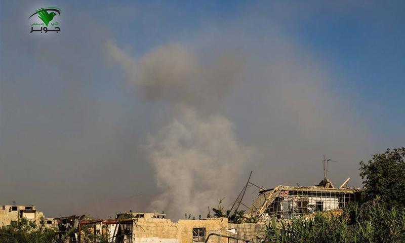 آثار القصف الجوي على حي جوبر االدمشقي - 5 آب 2017 - (أخبار جوبر)