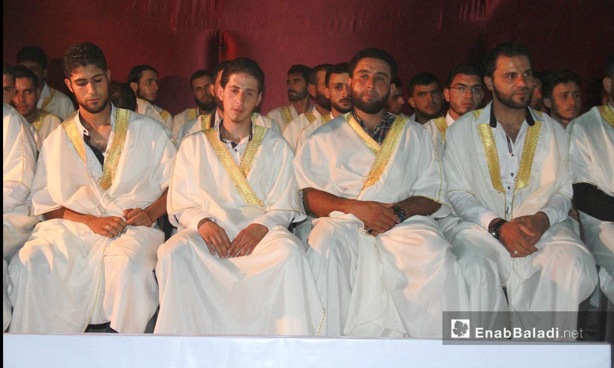 زفاف جماعي لشباب من مدينة داريا في محافظة إدلب - 9 آب 2017 (عنب بلدي)