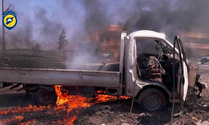 تعبيرية: آثار القصف على أورم الكبرى غرب حلب - الأربعاء 10 آب 2016 (الدفاع المدني في حلب)