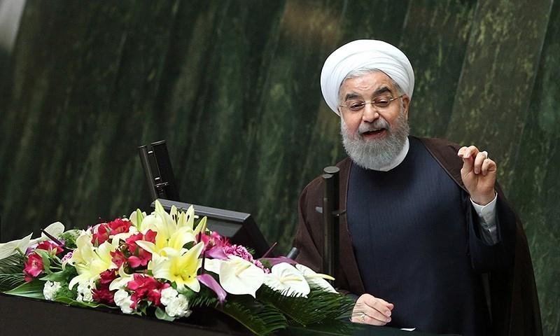 الرئيس الإيراني حسن روحاني في كلمة أمام البرلمان - 15 آب 2017 - (تسنيم)