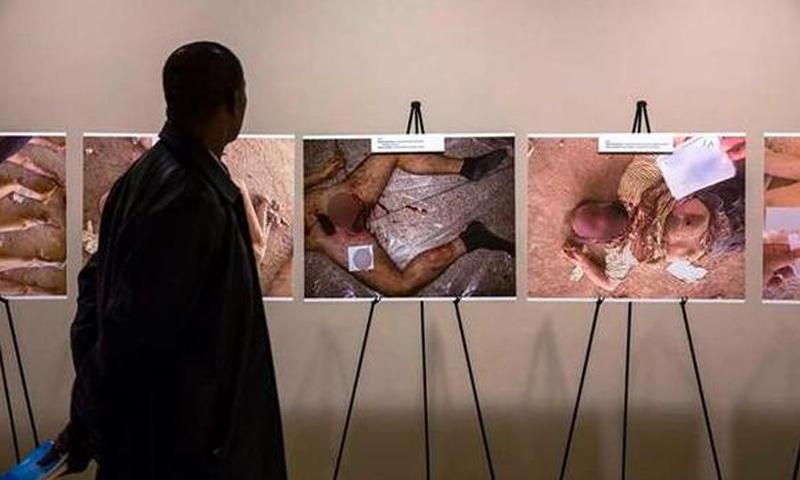 معرض لصور التعذيب في مقر الأمم المتحدة في نيويورك 2015 (انترنت)