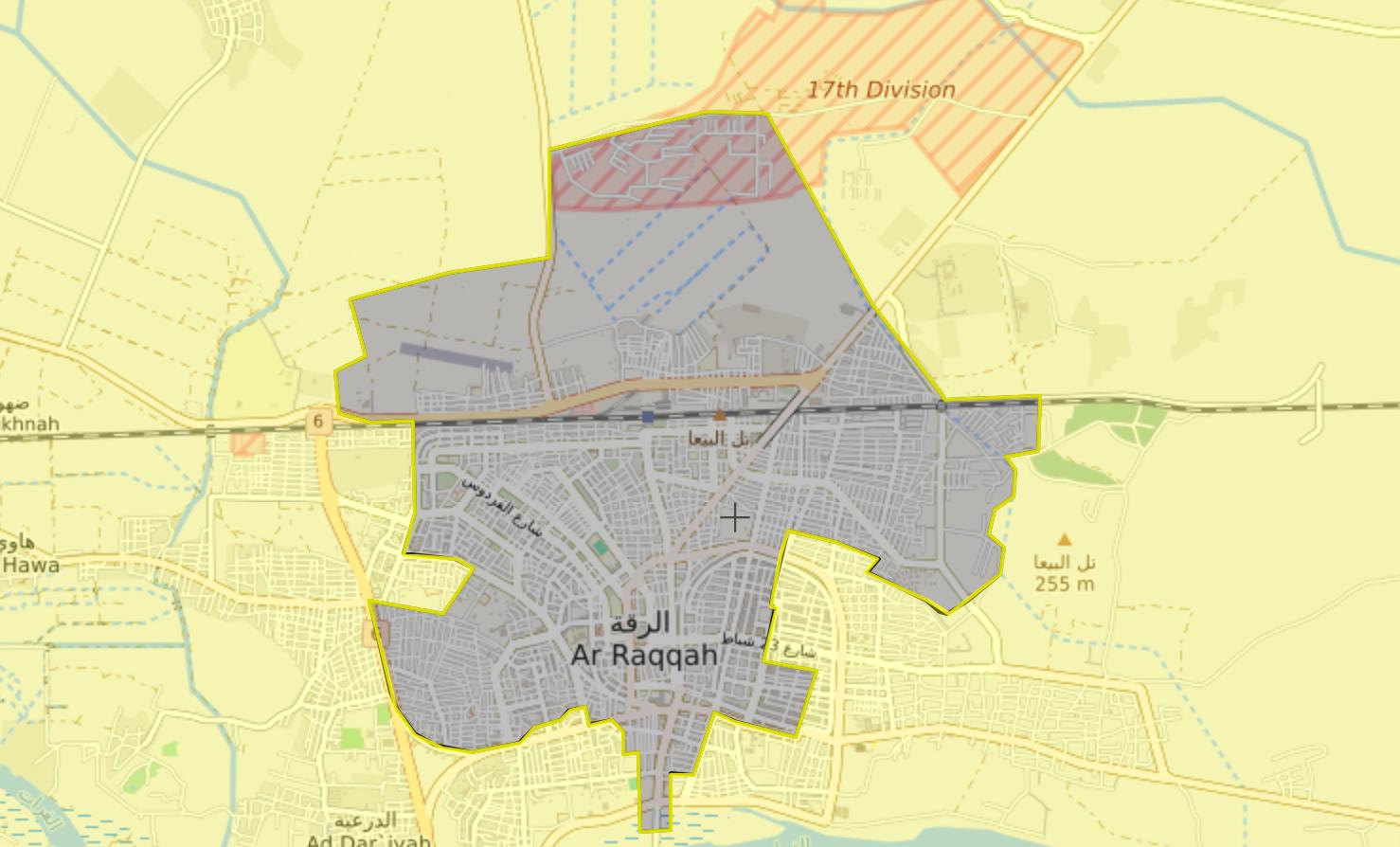 خريطة السيطرة في مدينة الرقة - 9 آب 2017 (Livemap)