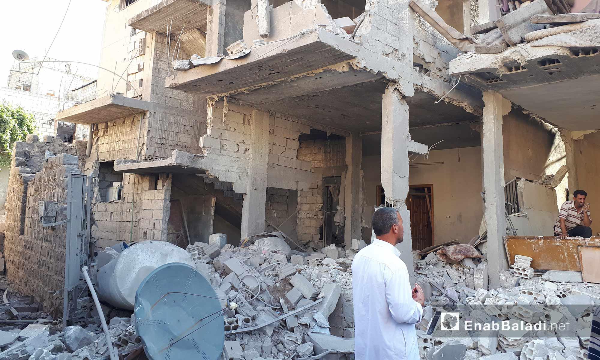 الدمار الذي خلفه قصف الطيران الحربي لمدينة الحولة بريف حمص الشمالي - 22 آب 2017 (عنب بلدي)