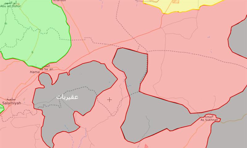 خريطة السيطرة في منطقة عقيربات شرق حماة - 24 آب 2017 (Livemap)