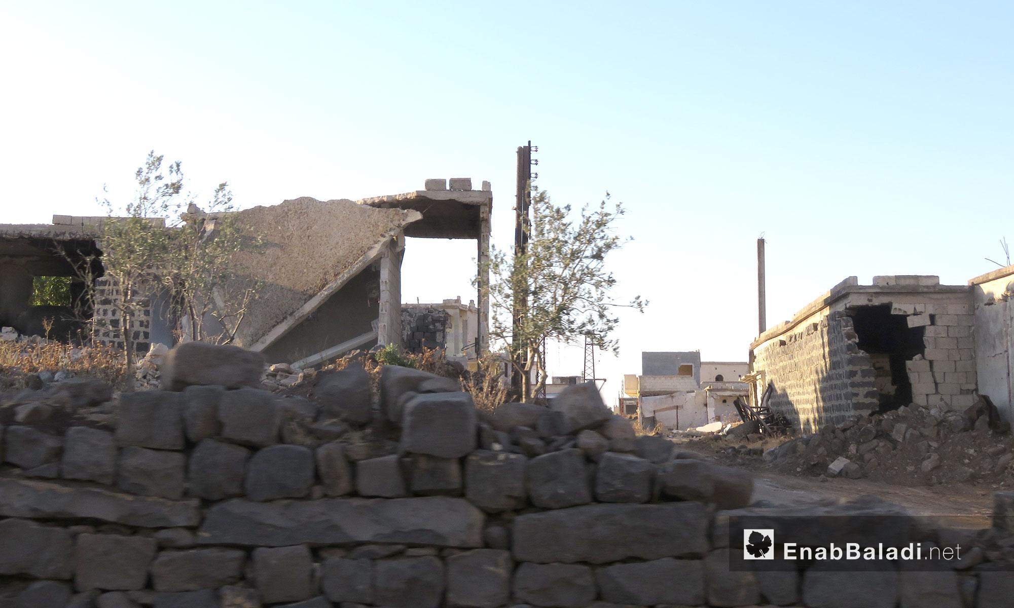 أبنية مهدمة داخل أحد أحياء الحولة في ريف حمص - 25 تمو 2017 (عنب بلدي)