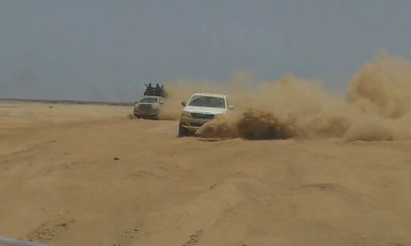 سيارات عسكرية تابعة لقوات الأسد في البادية السورية - (فيس بوك)
