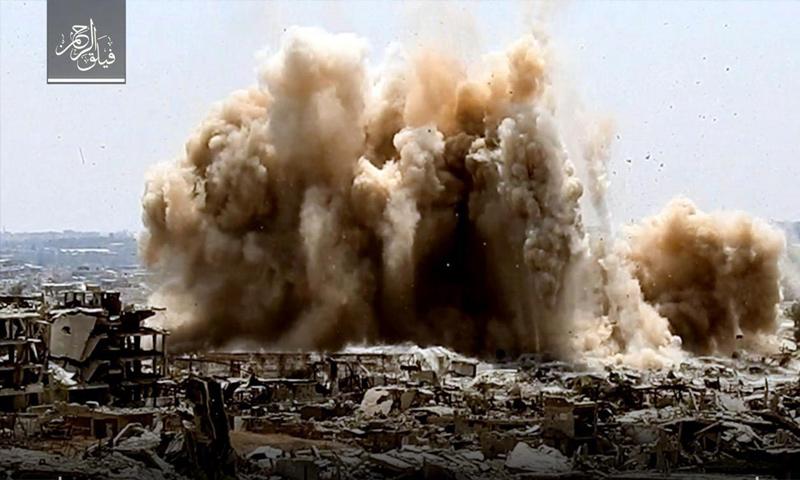 فيلق الرحمن يفجر نفق بقوات الأسد على جبهة حي جوبر - 16 آب 2017 - (فيلق الرحمن)