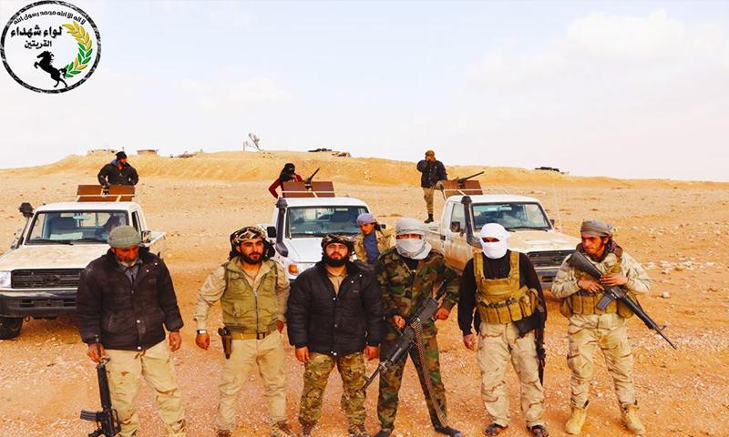 عناصر من لواء شهداء القريتين في البادية السورية - (فيس بوك)