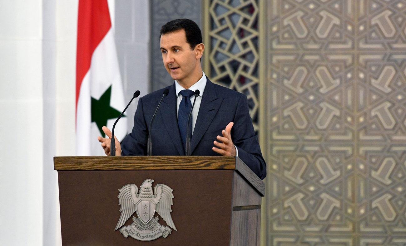 رئيس النظام السوري بشار الأسد في خطاب - 20 آب 2017 (صفحة رئاسة الجمهورية)