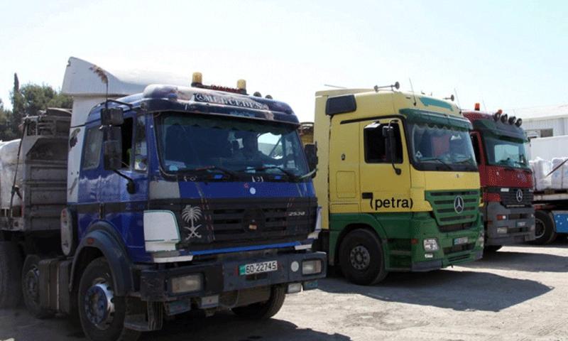 تعبيرية: شاحنات محملة بالبضائع في المنطقة الحرة بدمشق (إنترنت)