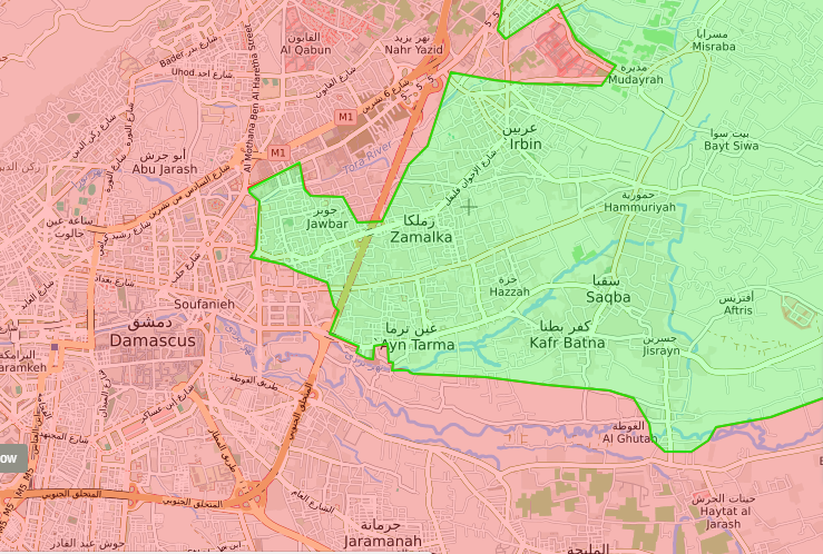 خريطة توضيحية لمدن الغوطة الشرقية المحاصرة من قبل قوات الأسد - (live map)