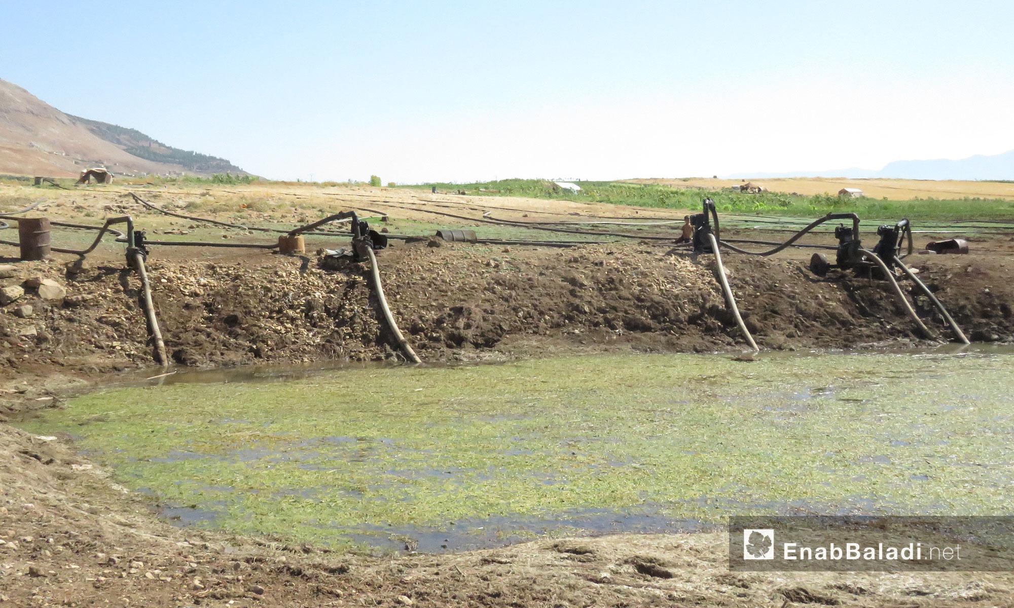 يقترب السد في الجفاف نتيحة الري العشوائي وغير المنظم للأراضي المحيطة