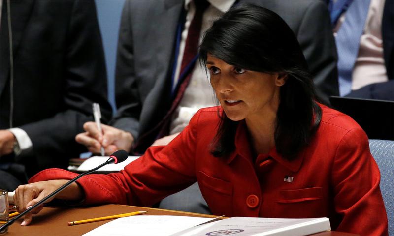نيكي هيلي سفيرة الولايات المتحدة في الأمم المتحدة - 5 تموز 2017 (رويترز)