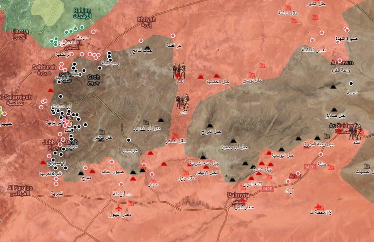 خريطة توضيحية لمناطق النفوذ في ريف حمص وحماة الشرقي - 20 آب 2017 - (الخريطة الحربية)