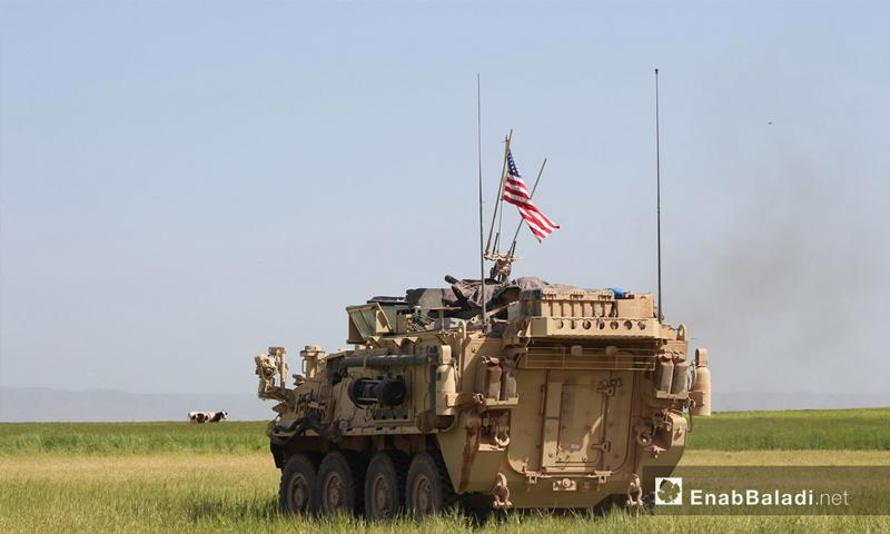 دبابة أمريكية في قرية الغنامة بالدرباسية على الحدود السورية التركية - 1 أيار 2017 (عنب بلدي)