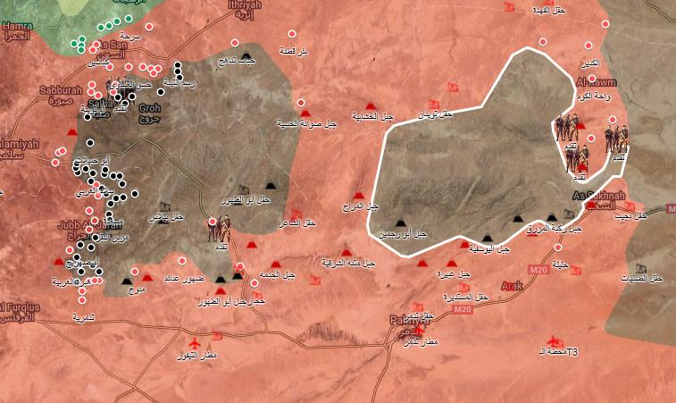 خريطة توضيحية لنفوذ قوات الأسد وتنظيم الدولة في ريفي حمص وحماة - 22 آب 2017 (الخريطة الحربية)