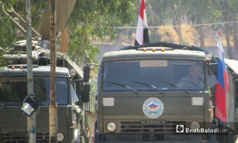 القوات الروسية على معبر الدار الكبيرة في ريف حمص الشمالي - 7 آب 2017 - (عنب بلدي)