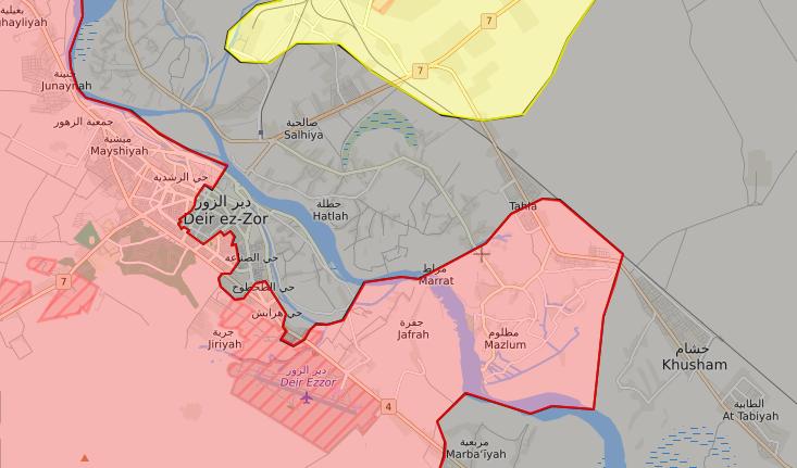 خريطة توضح نفوذ قوات الأسد في مدينة دير الزور - 18 أيلول 2017 - (livemap)
