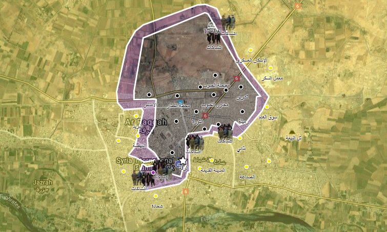 خريطة لمناطق سيطرة قوات سوريا الديموقراطية وتنظيم الدولة في الرقة - 10 أيلول 2017 (الخريطة الحربية)