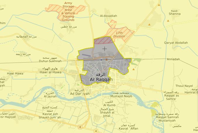 خريطة السيطرة الميدانية في مدينة الرقة – 14 آب 2017 (livemap)