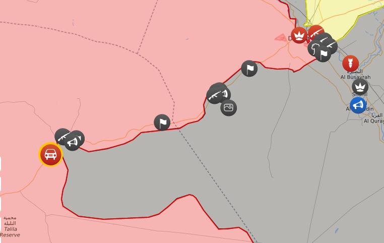 خريطة السيطرة الميدانية في محيط دير الزور - 29 أيلول 2017 (LIVEMAP)