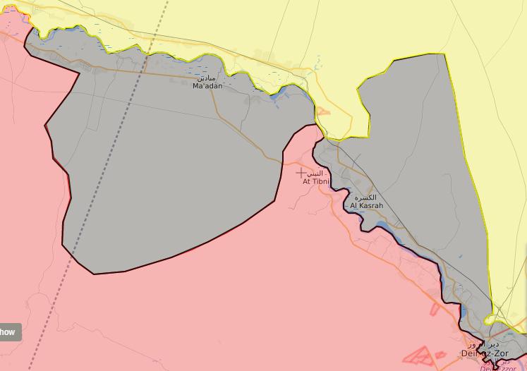 خريطة توضح نفوذ قوات الأسد في ريف الرقة الجنوبي - 22 أيلول 2017 (LIVEMAP)