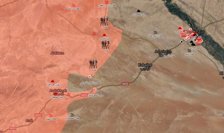 خريطة توضح دخول قوات الأسد الحدود الإدارية لدير الزور من جهة السخنة بريف حمص - 1 أيلول 2017 (الخريطة الحربية)