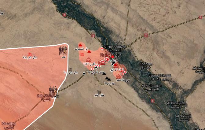 خريطة توضح تقدم قوات الأسد اتجاه مدينة دير الزور - 5 أيلول 2017 (الخريطة الحربية)