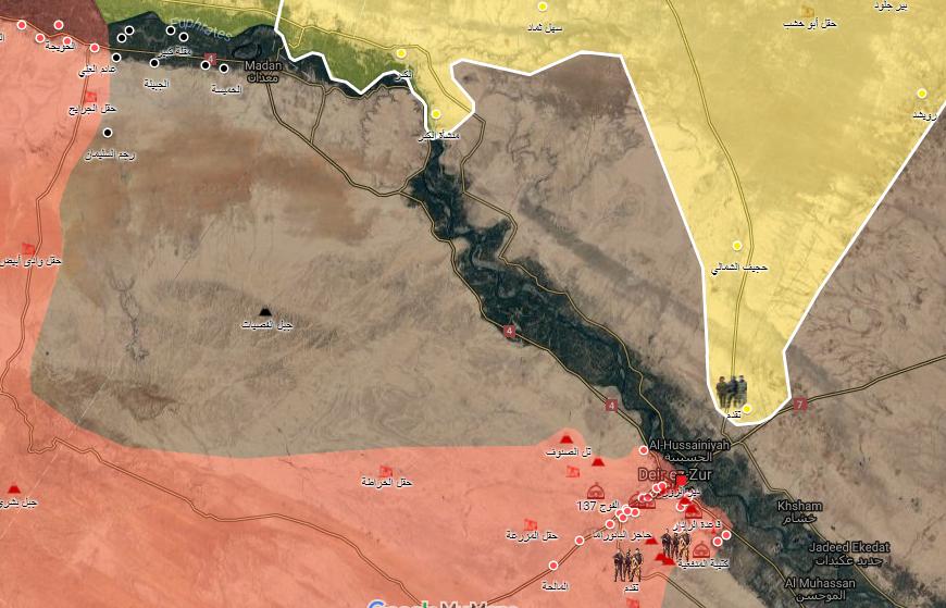 خريطة تظهر نفوذ قوات سوريا الديموقراطية وقوات الأسد ف محيط دير الزور - 11 أيلول 2017 (الخريطة الحربية)