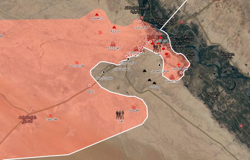 خريطة توضح نفوذ قوات الأسد في مدينة دير الزور ومحيطها - 10 أيلول 2017 (الخريطة الحربية)