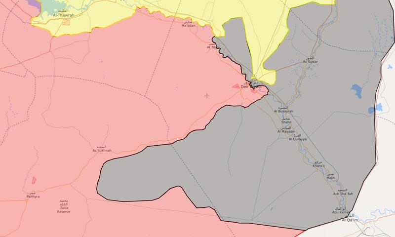 خريطة توزع السيطرة في محافظة دير الزور - 24 أيلول 2017 (Livemap)