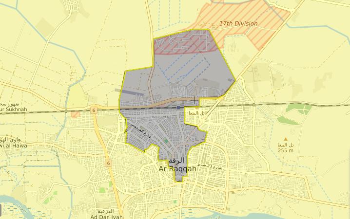 خريطة لمناطق سيطرة قوات سوريا الديموقراطية وتنظيم الدولة في الرقة – 20 أيلول 2017 (LIVEMAP)