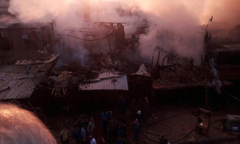 حريق في سوق الهال القديم وسط دمشق - 12 أيلول 2017 - (دمشق الآن)