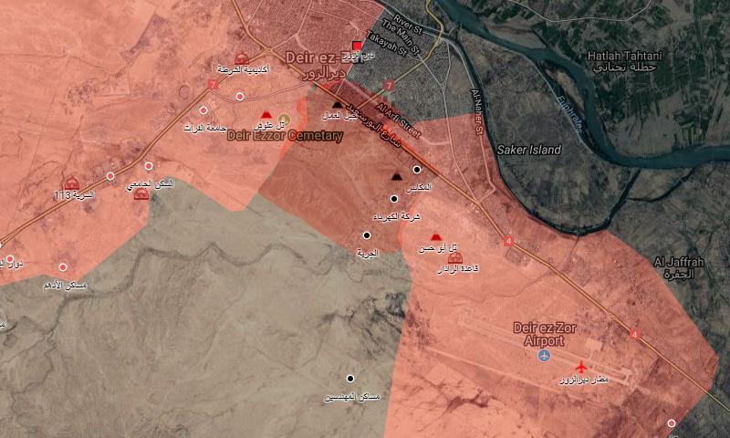خريطة السيطرة في محيط دير الزور - 9 أيلول 2017 (خرائط جوجل المعدلة)