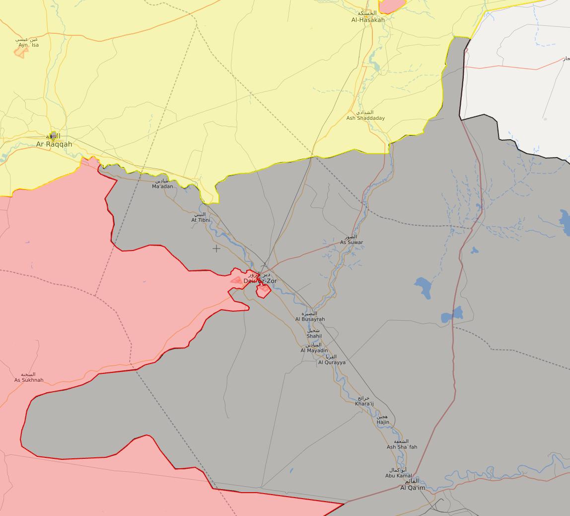 خريطة السيطرة في محافظة دير الزور - 9 أيلول 2017 (livemap)