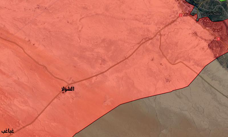 خريطة السيطرة على أوتستراد دير الزور- تدمر مرورًا بالشولا وغباغب (تعديل عنب بلدي)